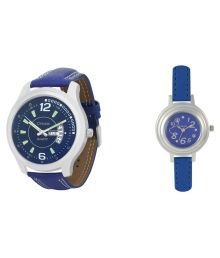 Crude Couple Analog Watch With Leather Strap