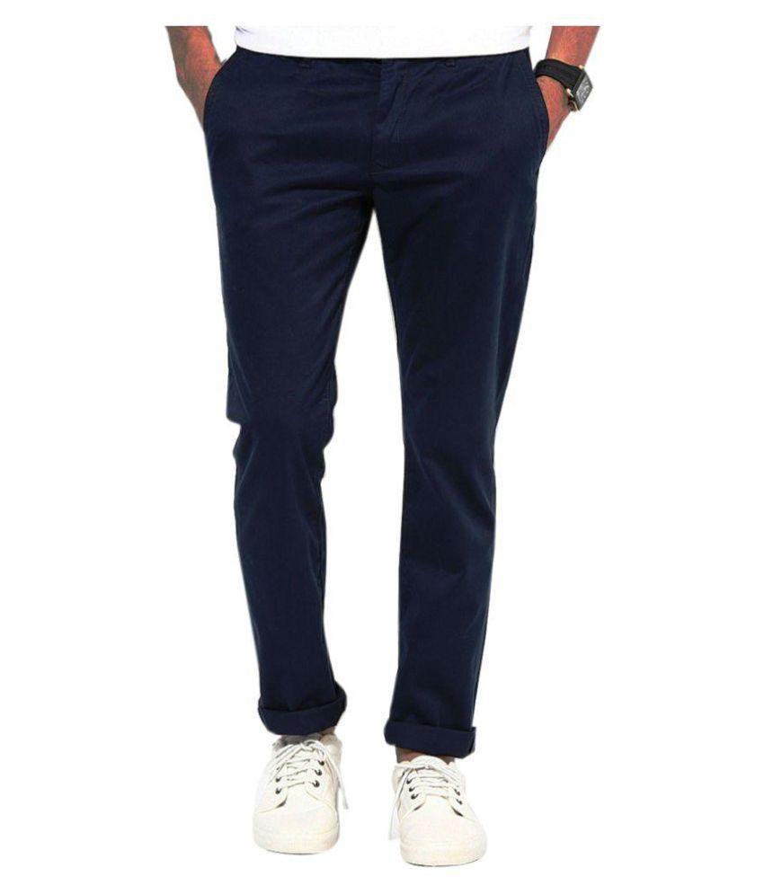 Ad & Av Blue Regular Flat Trouser