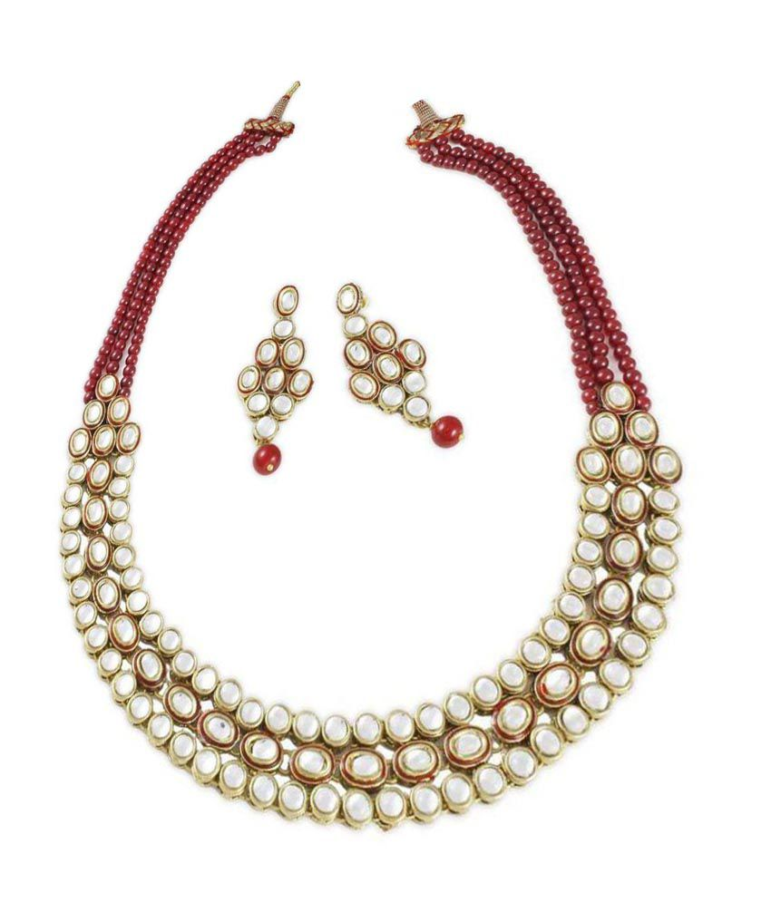 Shining Diva Maroon Kundan Traditional Necklace Set