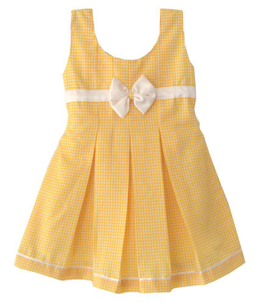 adf9d09ef Lolly Poppiez Yellow Check Box Pleated Baby Dress - Buy Lolly Poppiez Yellow  Check Box Pleated Baby Dress Online at Low Price - Snapdeal