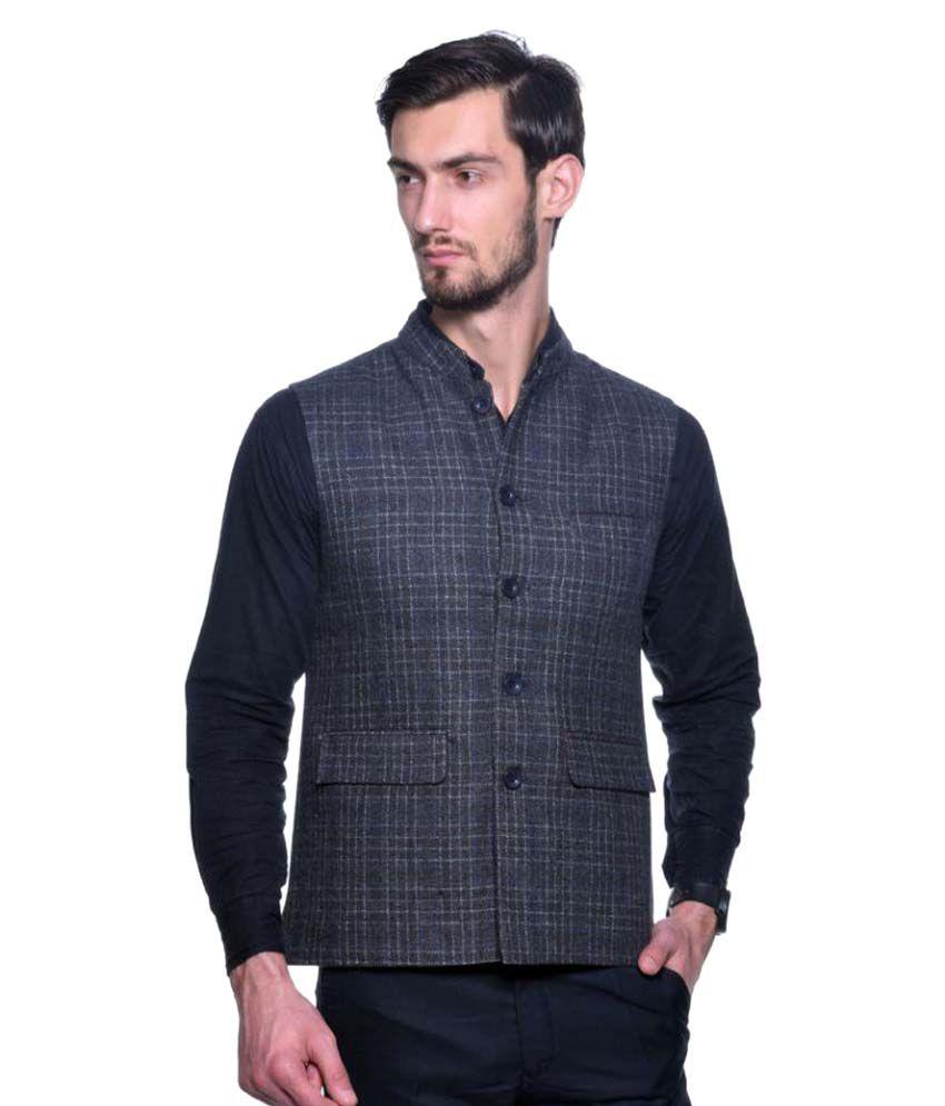 Pierre Carlo Blue Checks Casual Waistcoats
