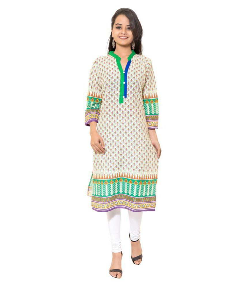 Sml Originals Beige Cotton Straight Kurti