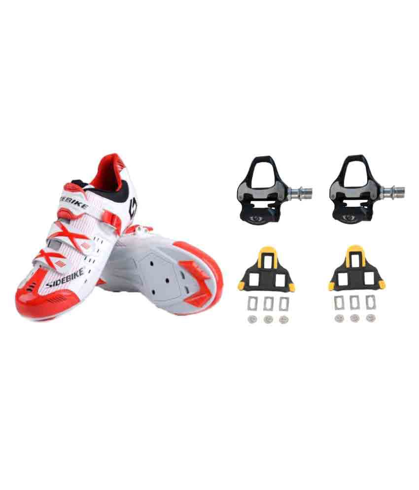 Combo Sidebike Road Cycling White Shoes & Fusion SPD-SL Pedals With Cleat ( Shimmano Cleats Compatible)