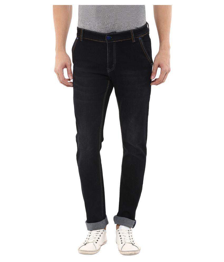 11Cent Black Slim Solid Men's Jeans