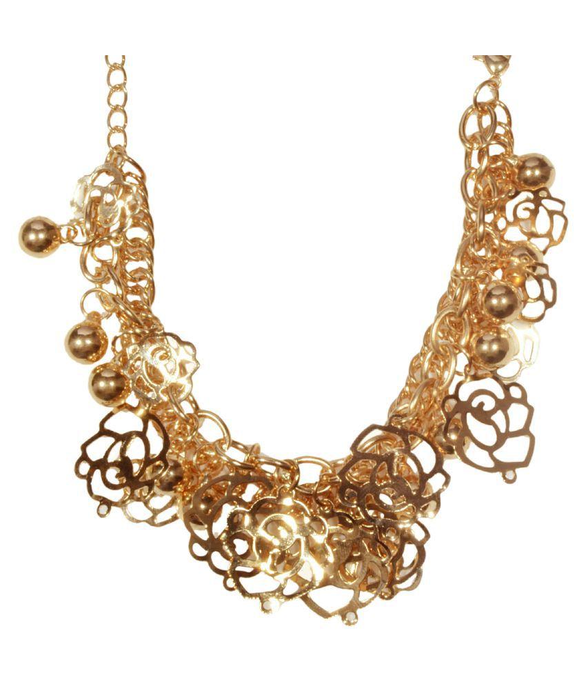 Mansiyaorange Golden Brass Charm Bracelet Stylish Latest Trendy Western Korean Imported Look Regular Classy Pearl Beads