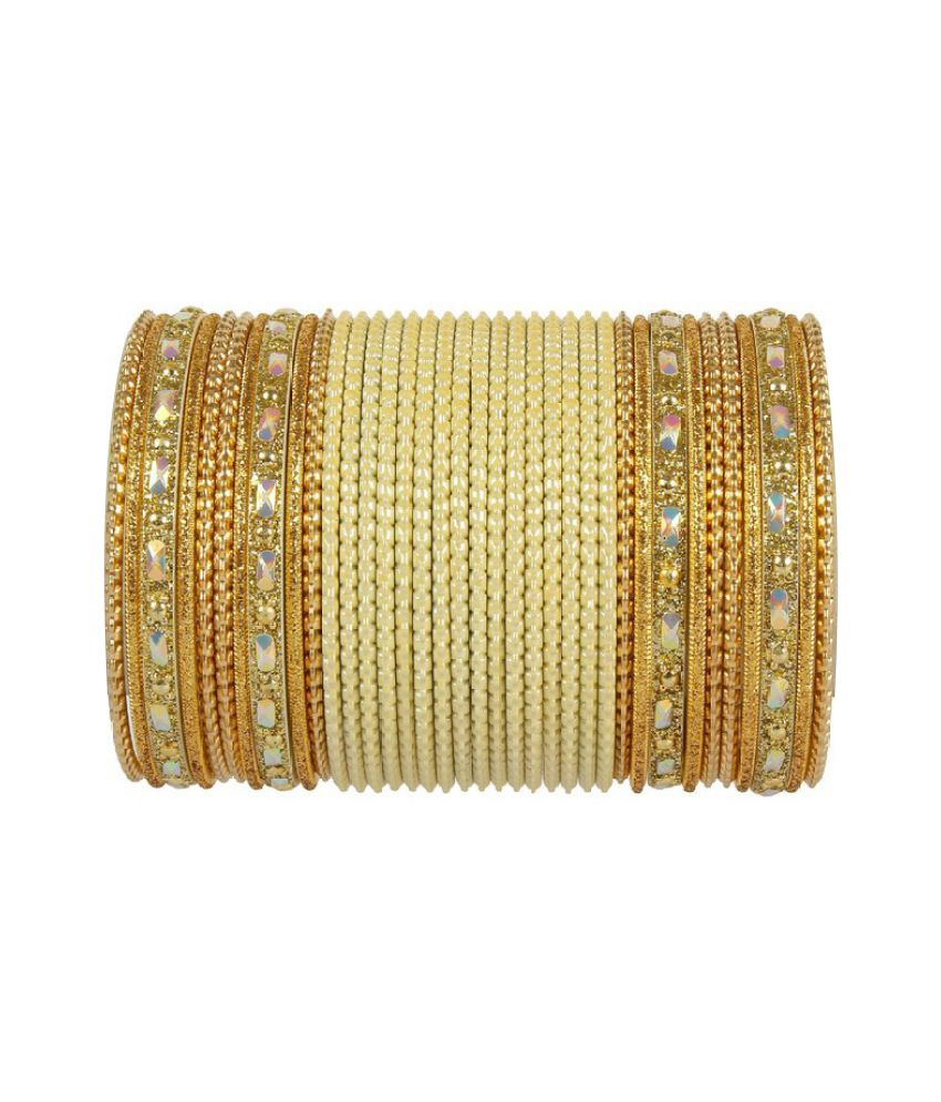 Much More Golden Alloy Bangle Set
