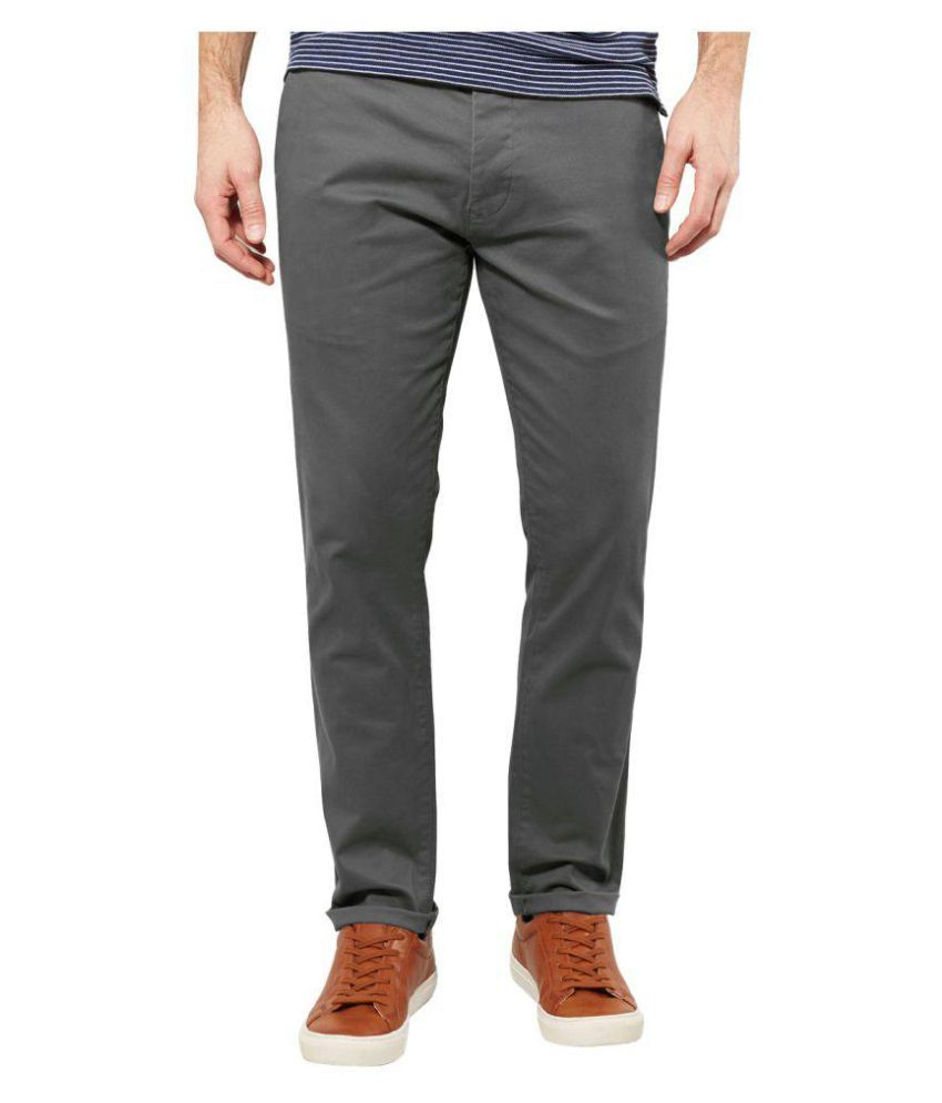 AD & AV Grey Regular Flat Trouser