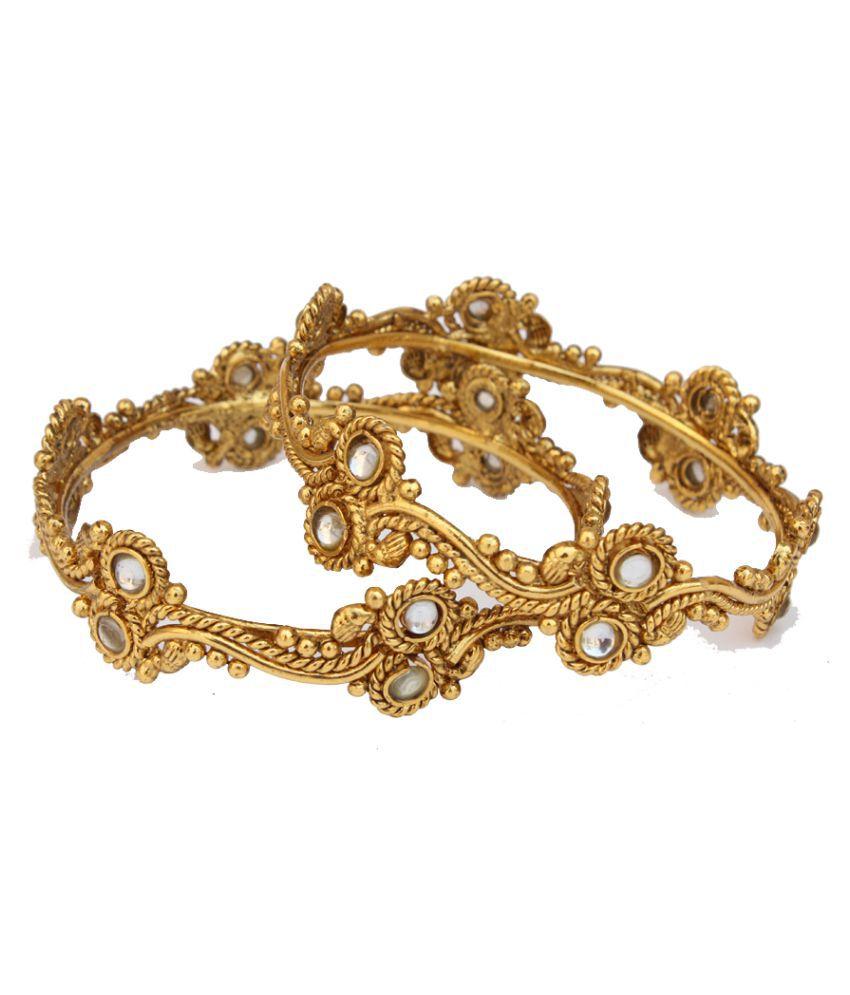Lakshya Gold Plated Polki Antique Design Bangles - Set of 2