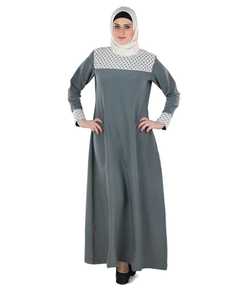 Momin Libas Grey Polyester Stitched Burqas without Hijab