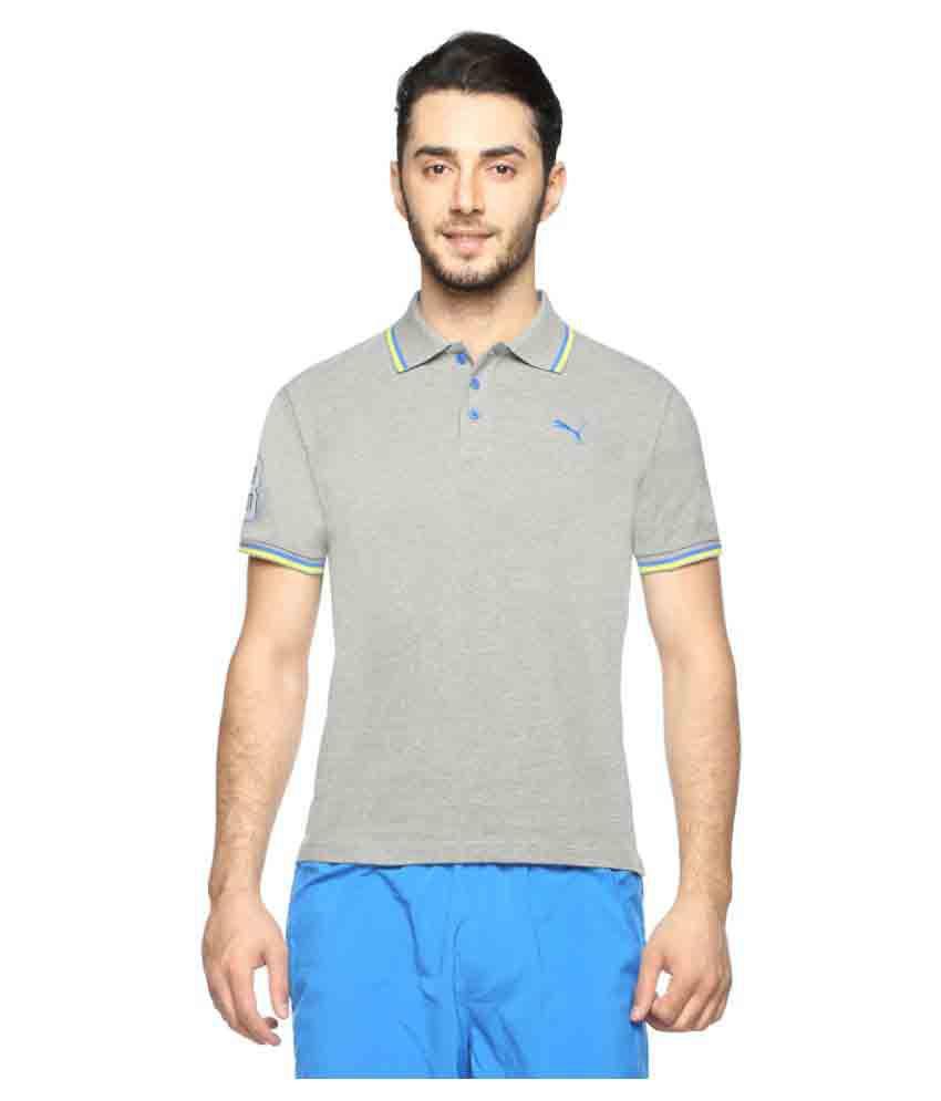 Puma Grey Regular Fit Polo T Shirt