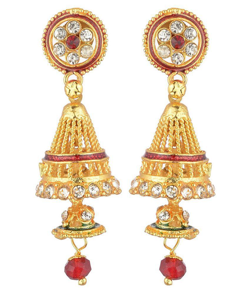 Grandiose Golden Alloy Jhumki Earrings Single Pair