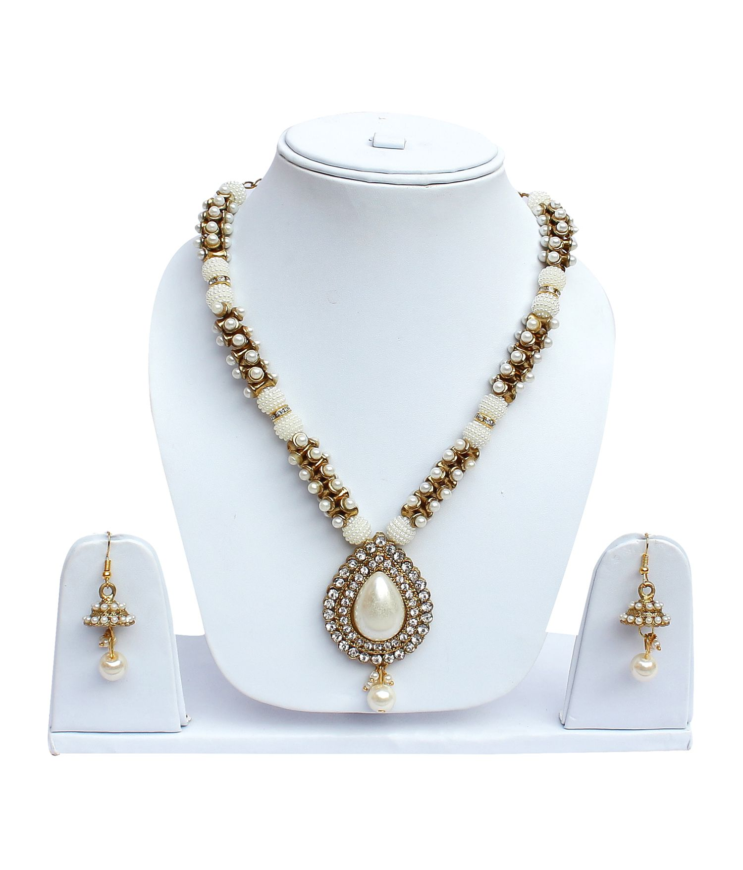 Lucky Jewellery Multicolor Designer Partywear Pearl Necklace Set