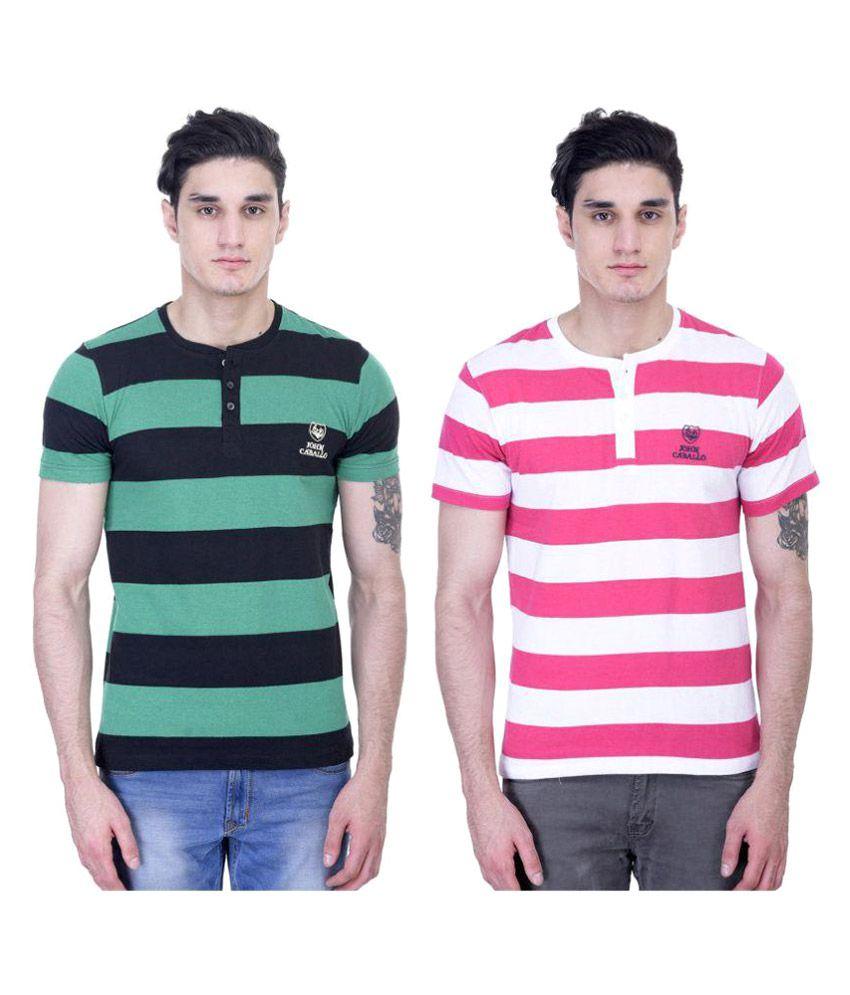 John Caballo Multi Henley T-Shirt Pack of 2