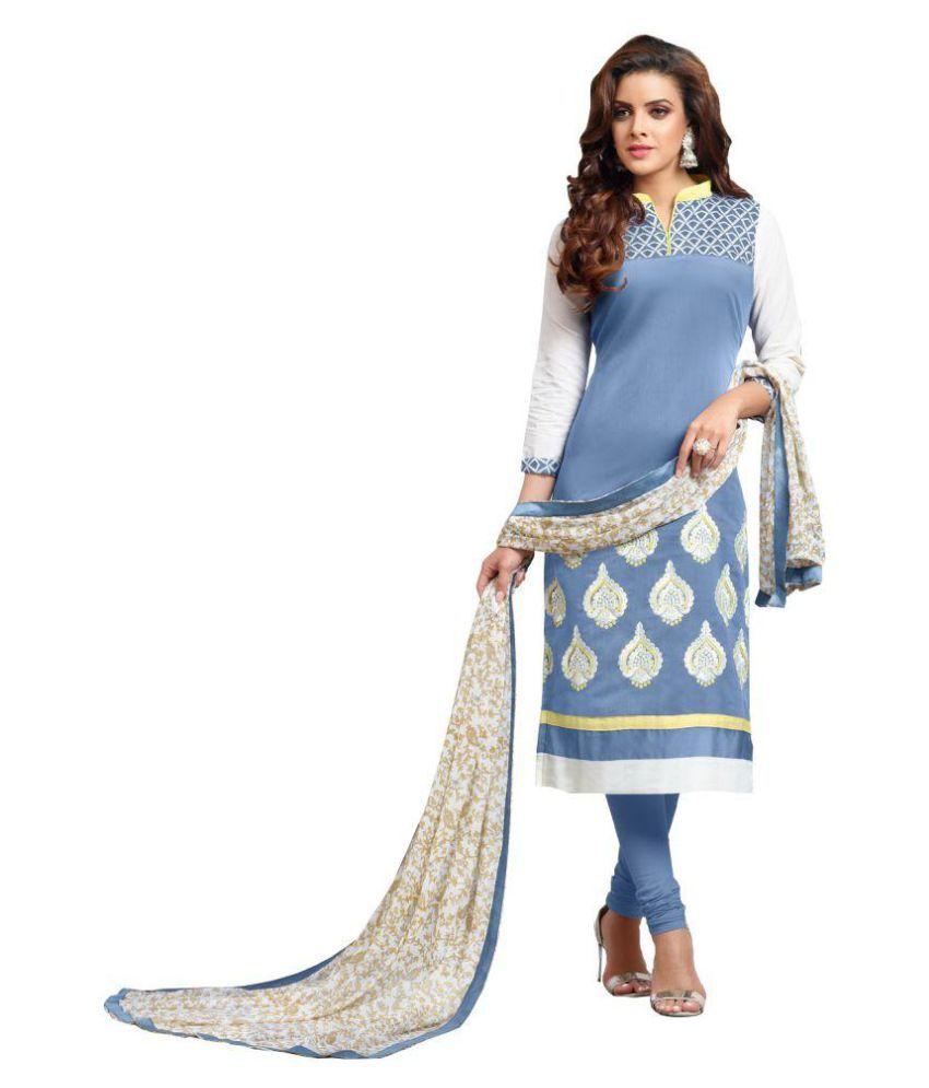 Saleswipe Blue Chanderi Straight Stitched Suit