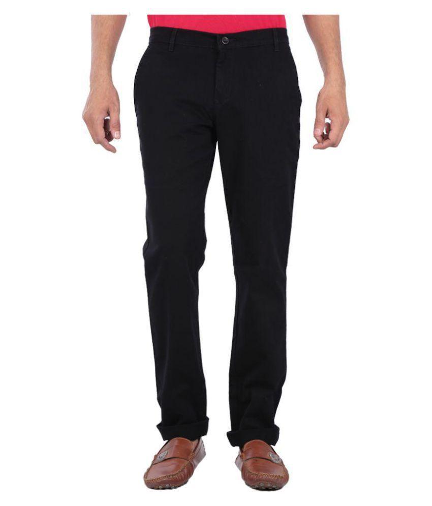 White Pelican Black Slim Flat Trouser