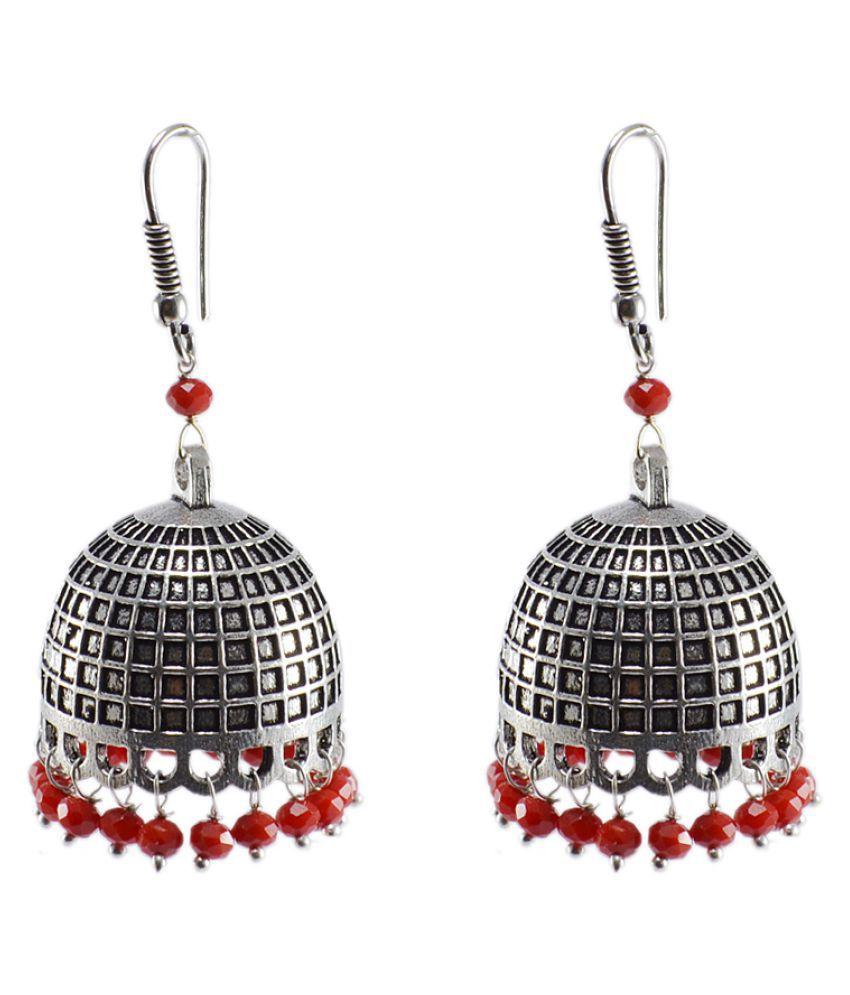 Silvesto India Black Admirably Expressive Crystals Stone Alloy Oxidized Handmade Jhumki Earring PG-28179