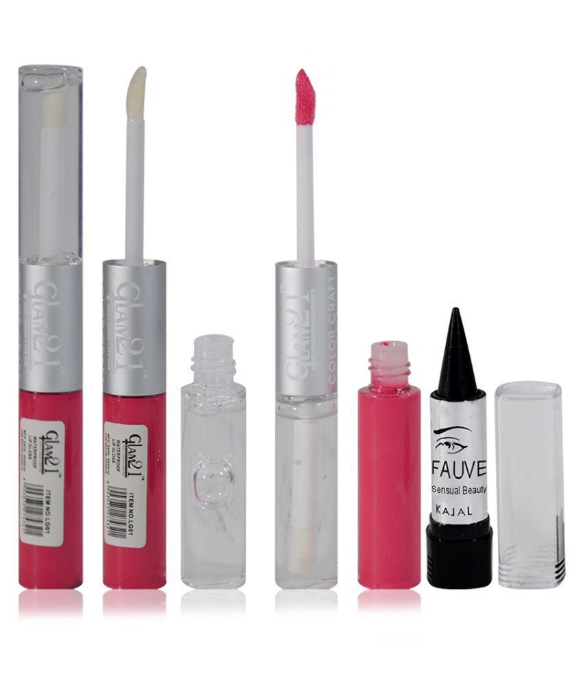 Glam 21 GCI Free Kajal With Lip Gloss Liquid Pink 11 gm