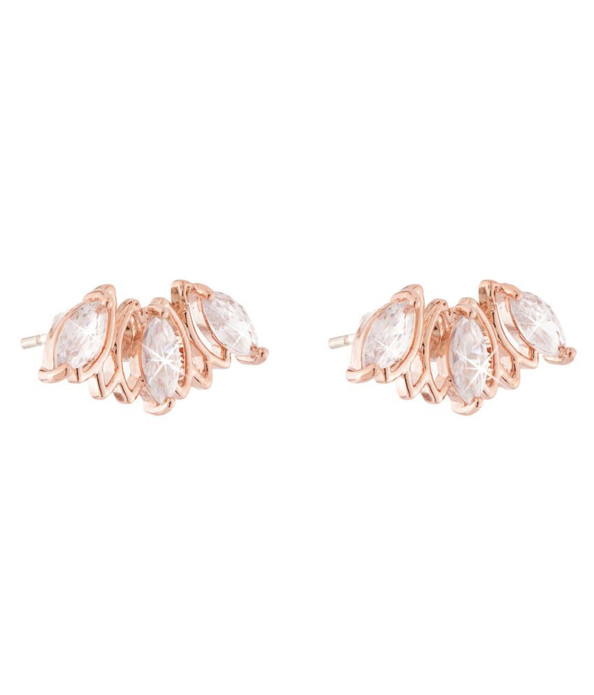Jazz Jewellery Rose Gold Plated Ad Cz Studded Designer Studs for Women