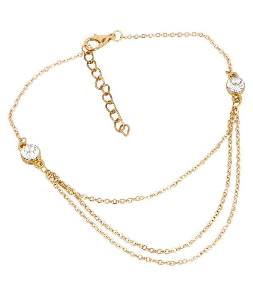 Fayon Chic Stylish Golden Chain With Twin Rhinestone Anklet