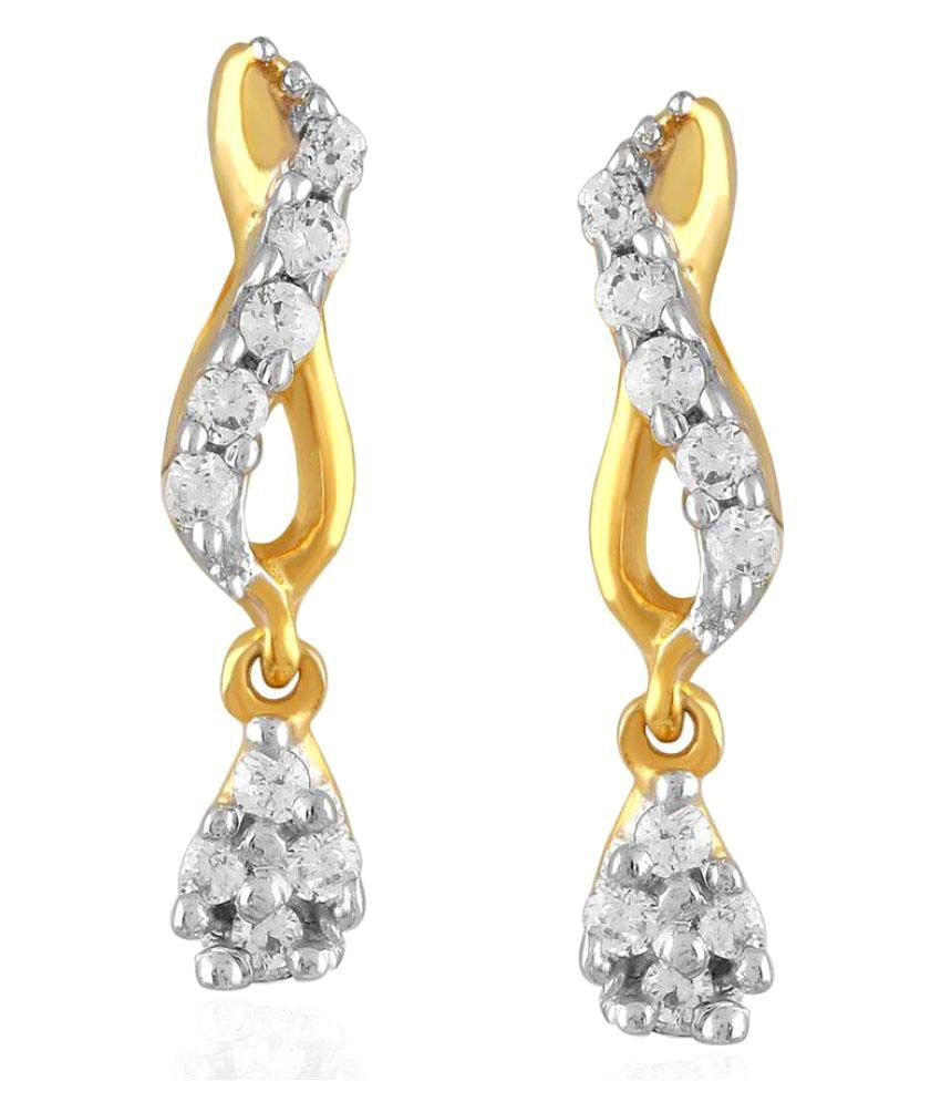 Maya Gold 22k BIS Hallmarked Yellow Gold Cubic zirconia Drop Earrings
