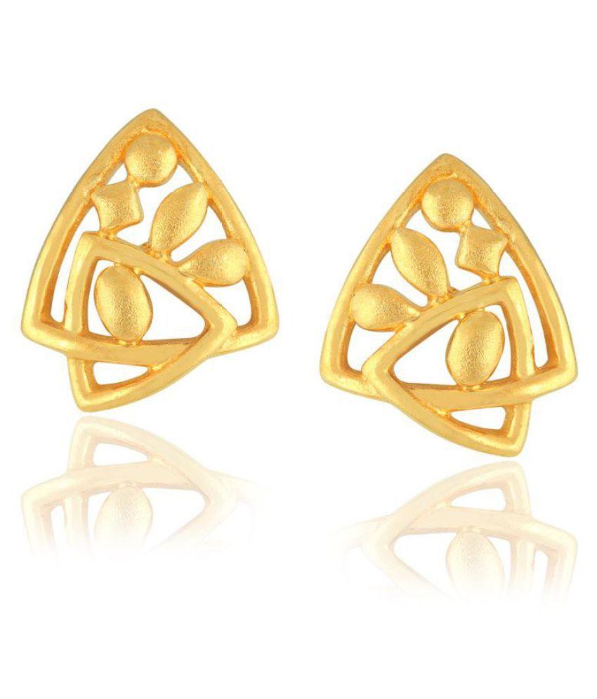 Maya Gold 22k BIS Hallmarked Yellow Gold Cubic zirconia Studs
