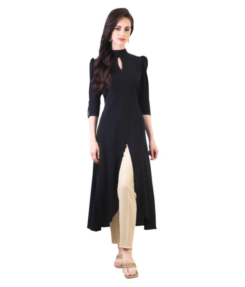 The Bebo Black Crepe A-line Kurti