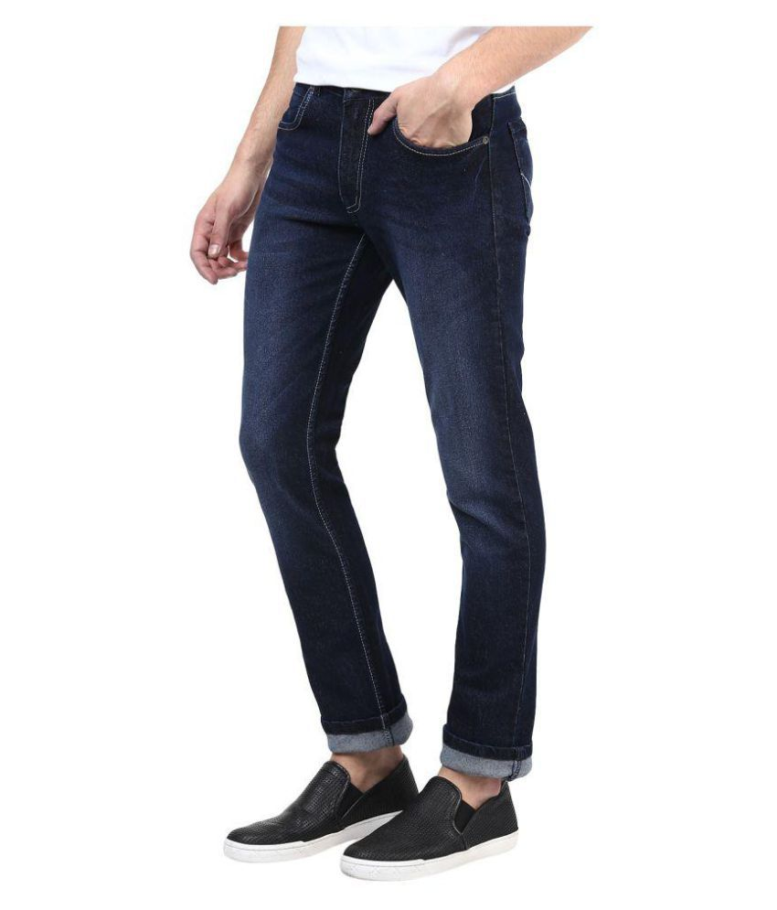 Superx Blue Slim Solid Jeans