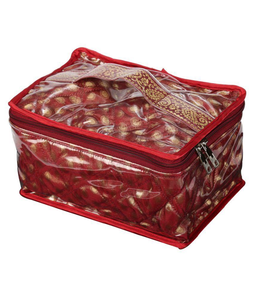 SuiDhaga Maroon Jewellery Box 6 Tray Organiser