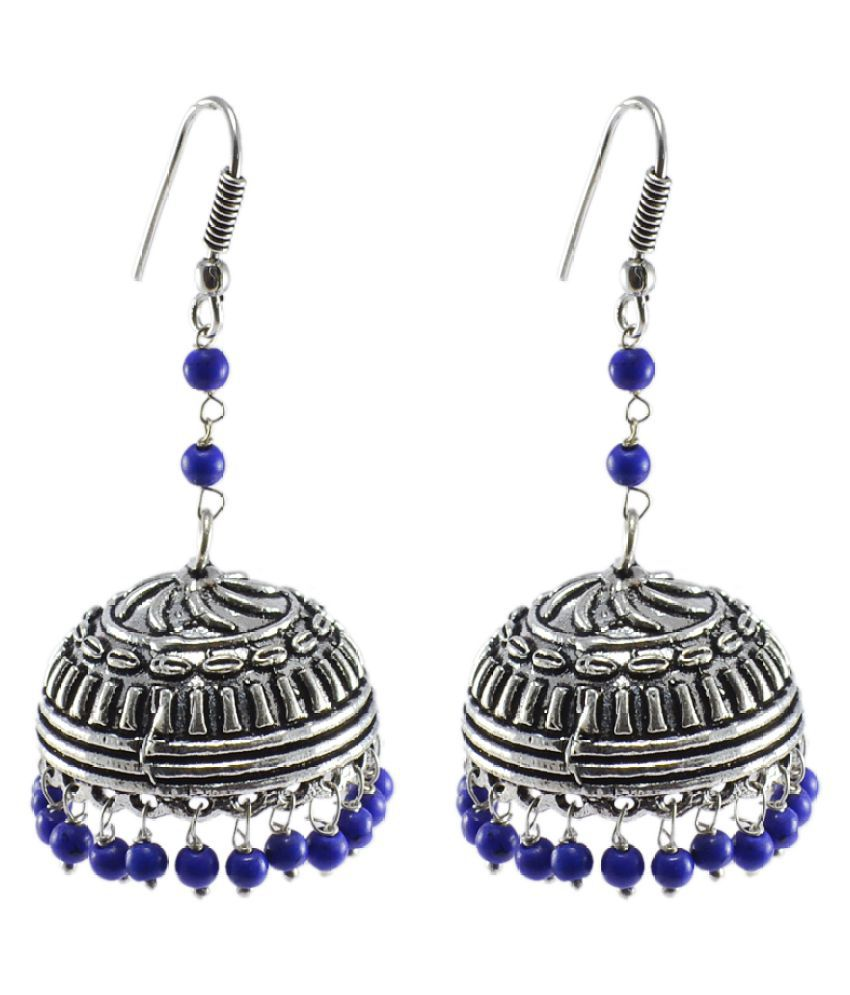 Silvesto India Royal Tradional Jewellery Treated Lapis Jhumka Earrings With Oxidized Finish PG-28323