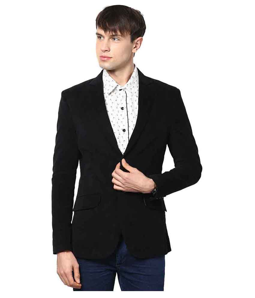 Vastra Innovation Black Solid Formal Blazers
