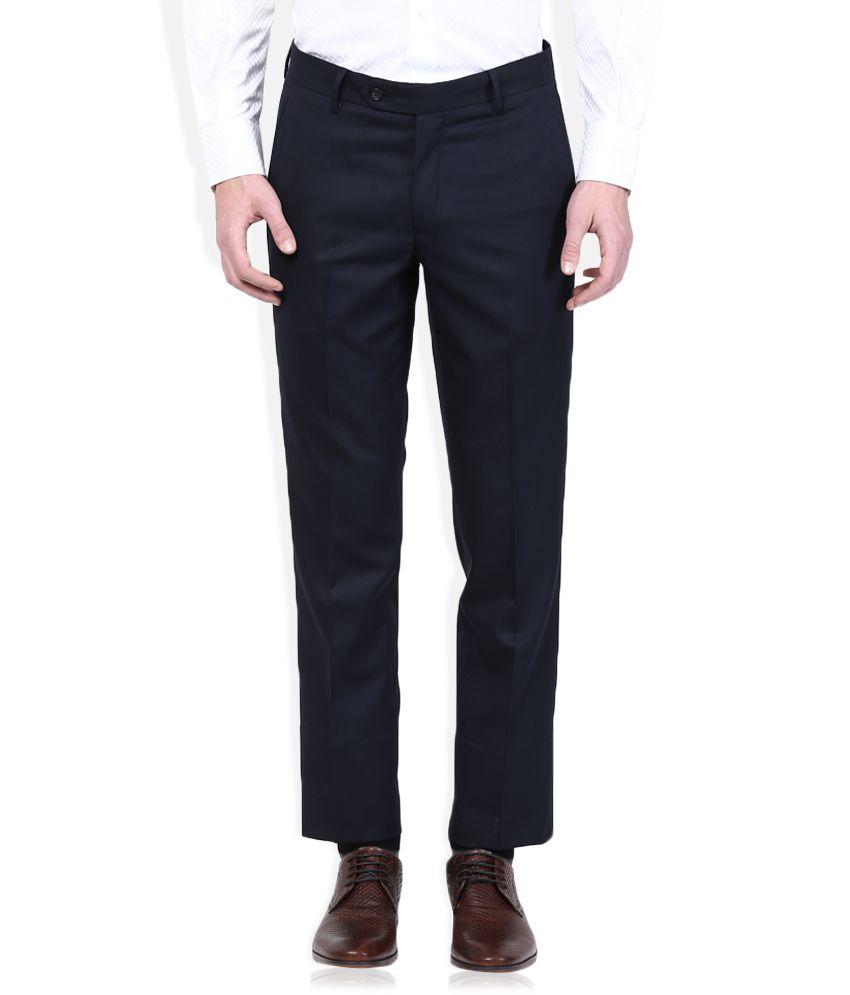 Wills Lifestyle Navy Blue Slim Flat Trouser