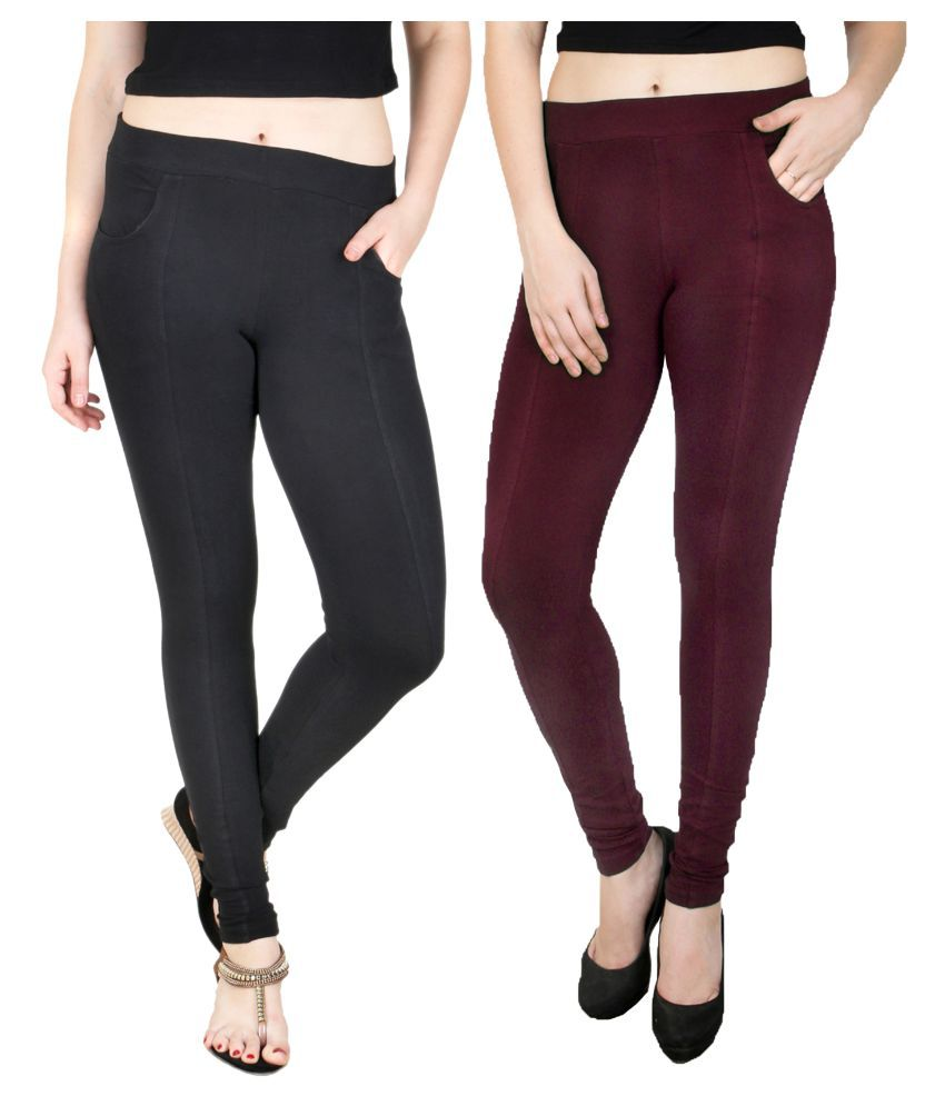 Faded Finch Cotton Lycra Jeggings - Pack of 2