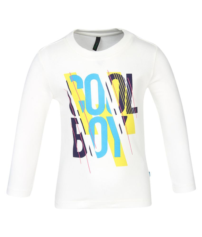 United Colors of Benetton Off White Printed T-Shirt