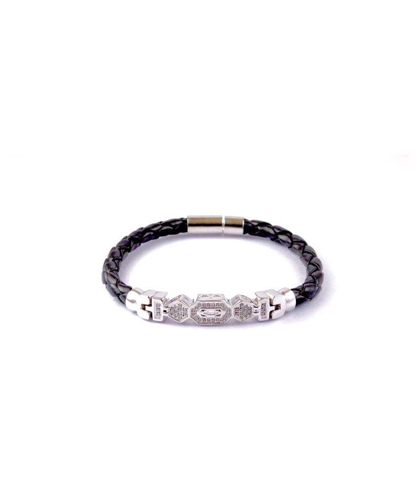7 Star Jewel Silver Plated Leather Royal Bracelet With AD Stone