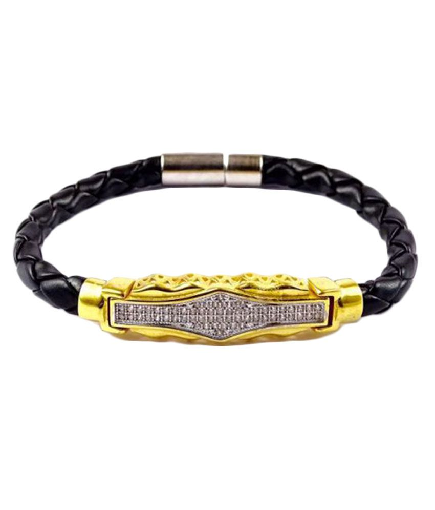 7 Star Jewel Gold Plated Leather Royal Bracelet With AD Stone