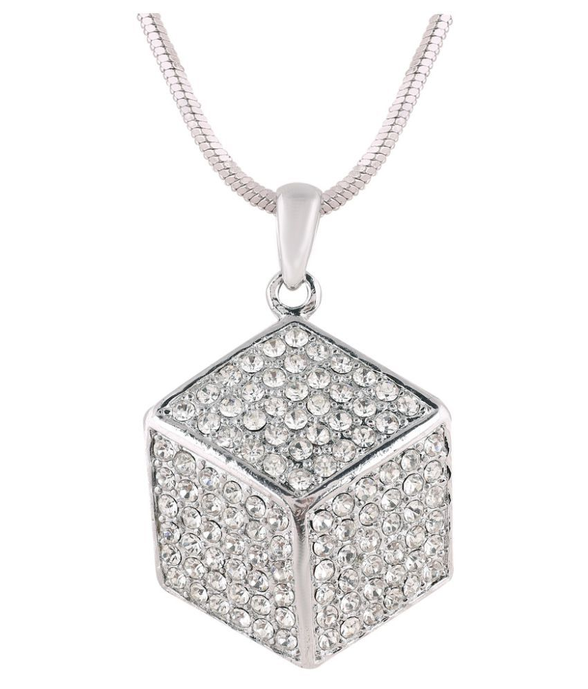 Shaze Silver Plated Brass Silver Dice Necklace Pendant