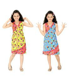 Red Rose Multicolour Cotton Nighty- Pack of 2