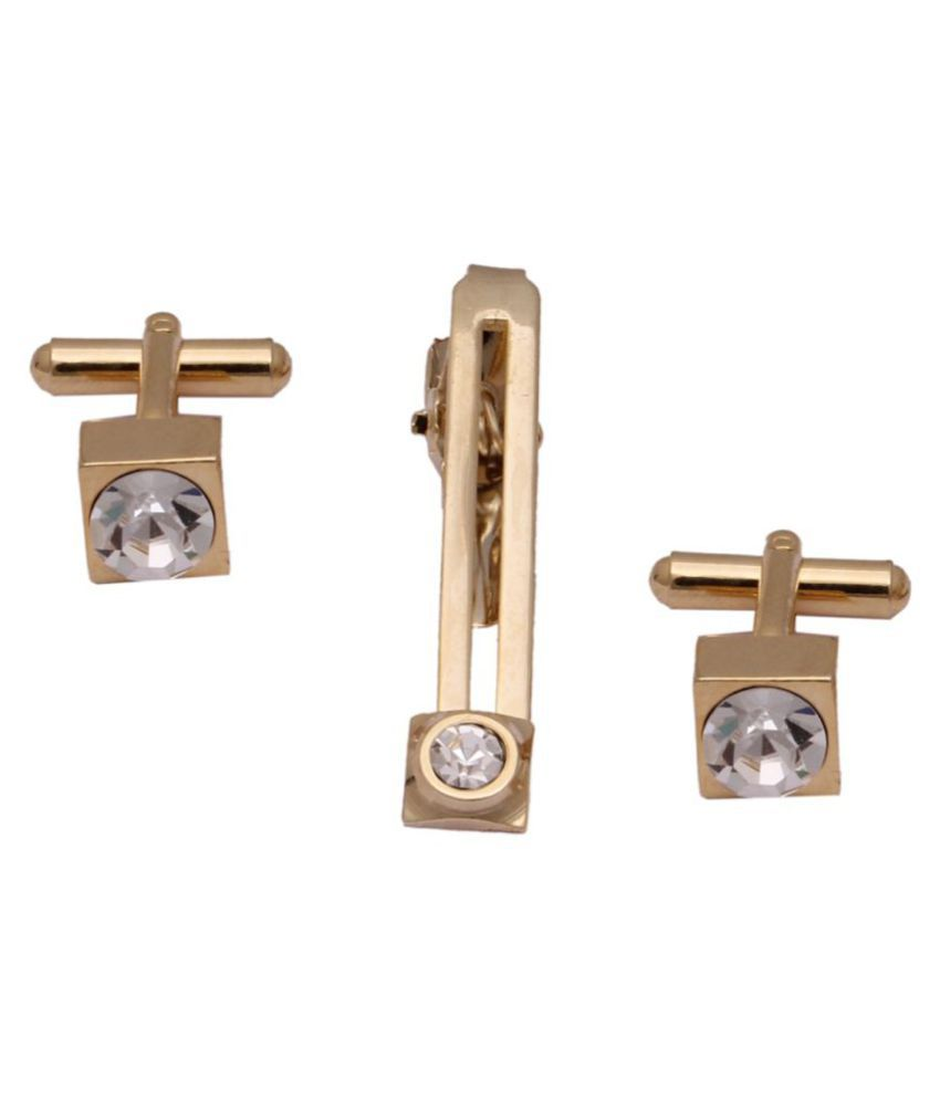 Square Golden Pretty Function Cufflinks with Tie Pin