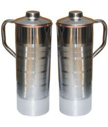 Veda Home & Lifestyle VEDA COPPER BOTTLES Silver 2000 Fridge Bottle Set Of 2