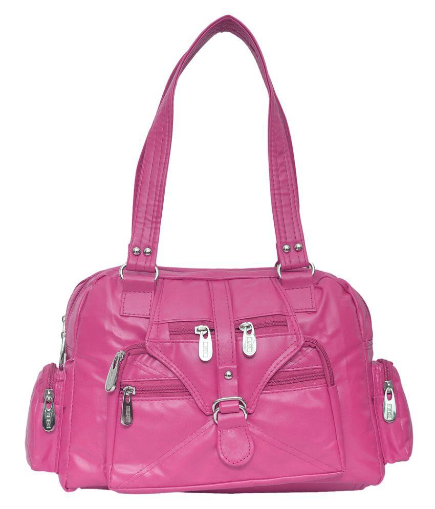 JH Hand Bag Pink P.U. Handheld