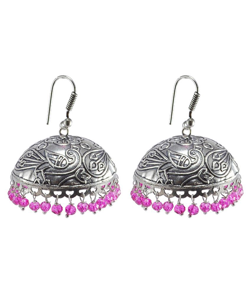 Silvesto India Exotic Elegance Pink Crystal Jhumki Earrings-Banjara Rajasthani Jewelry PG 30590
