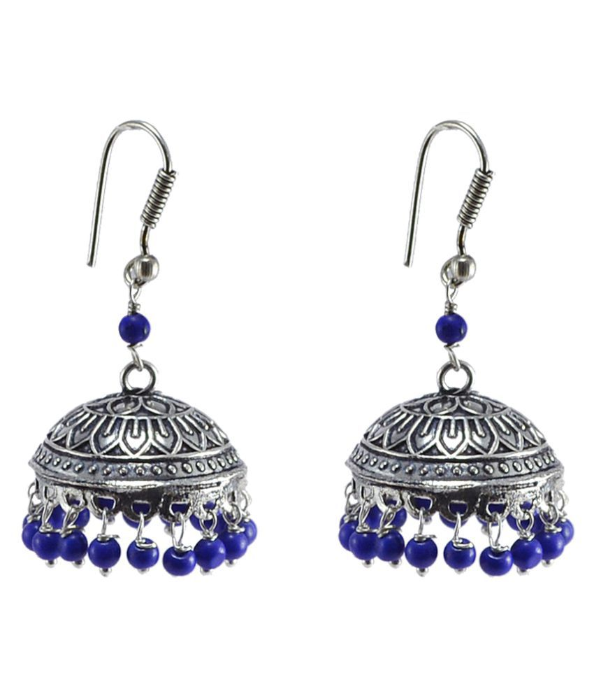 Silvesto India Indian oxidized Jhumka Earrings-Reconstituted Lapis Beads Jaipur Jewellery PG-30624