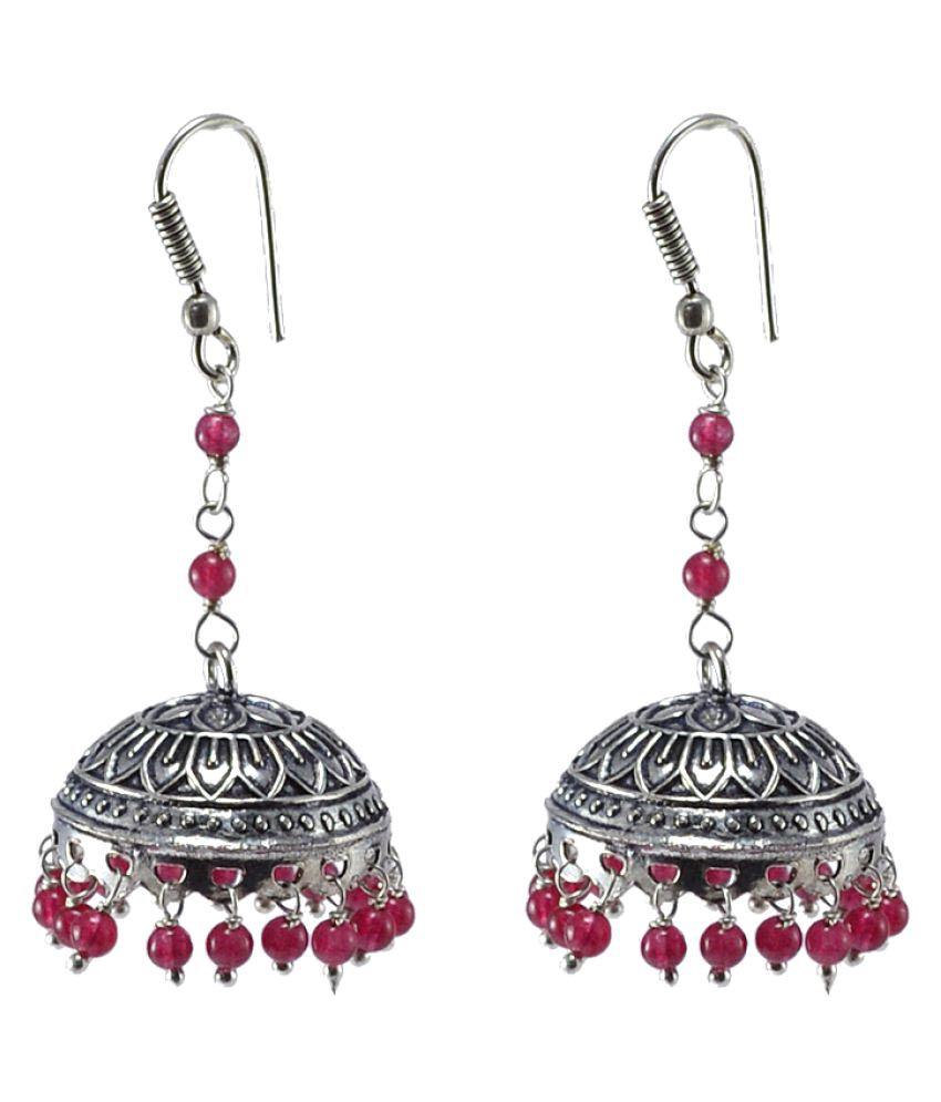 Urban Tribal Jaipuri Handmade Earring-Pink Quartz Beaded Dome Shaped Jhumka-Silvesto India PG-30608