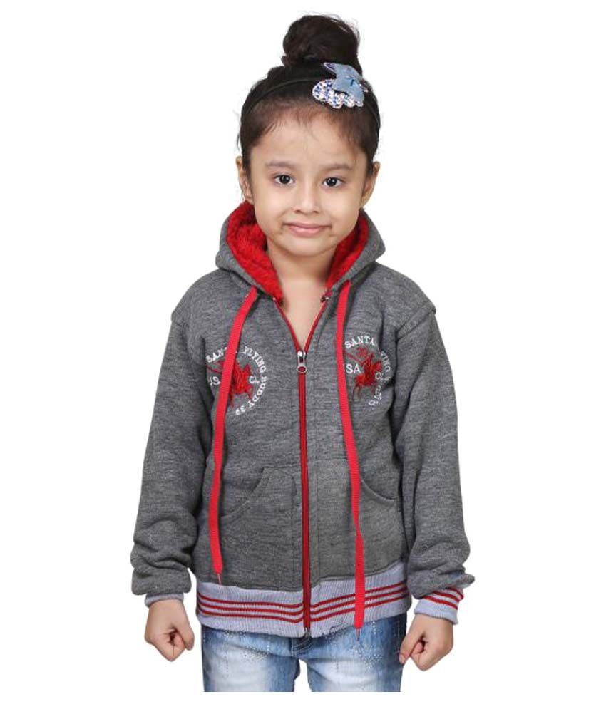 Crazeis Grey Wollen Girl's Winter Jacket