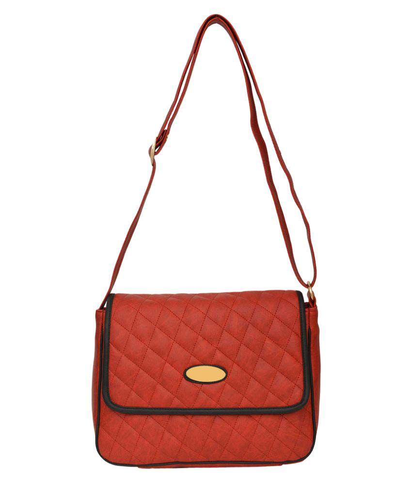 JH Hand Bag Red P.U. Sling Bag