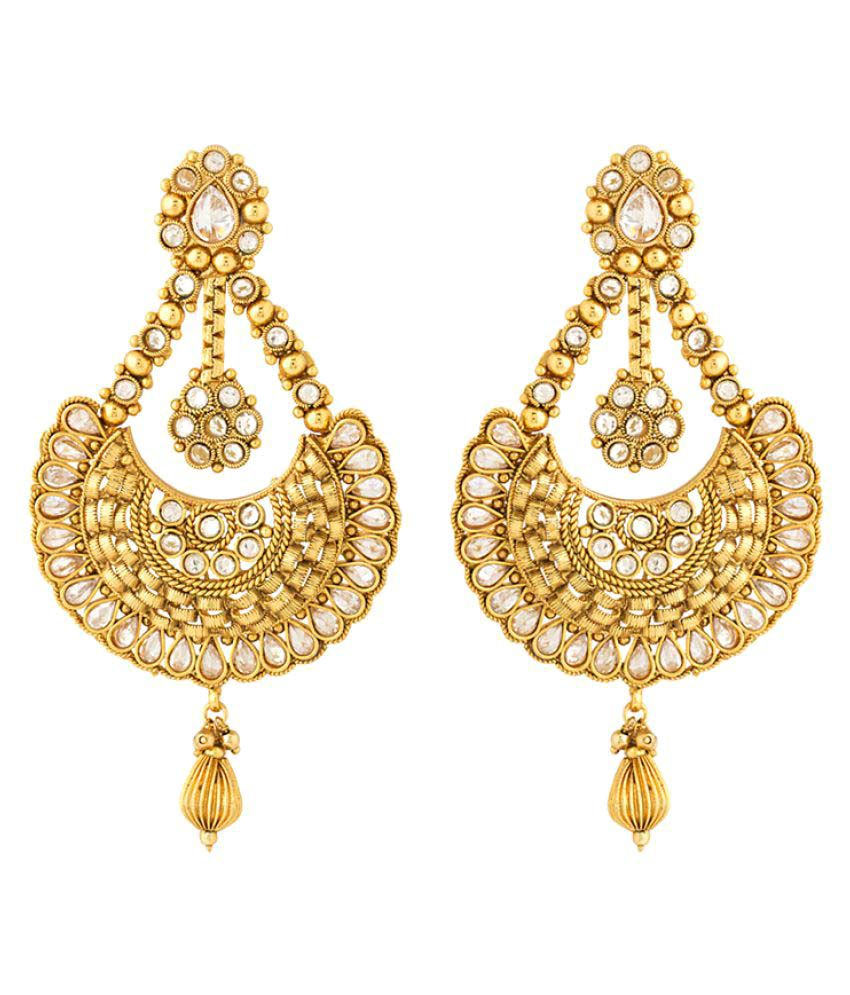 Voylla Golden Pyramid Shape Chandelier Earrings