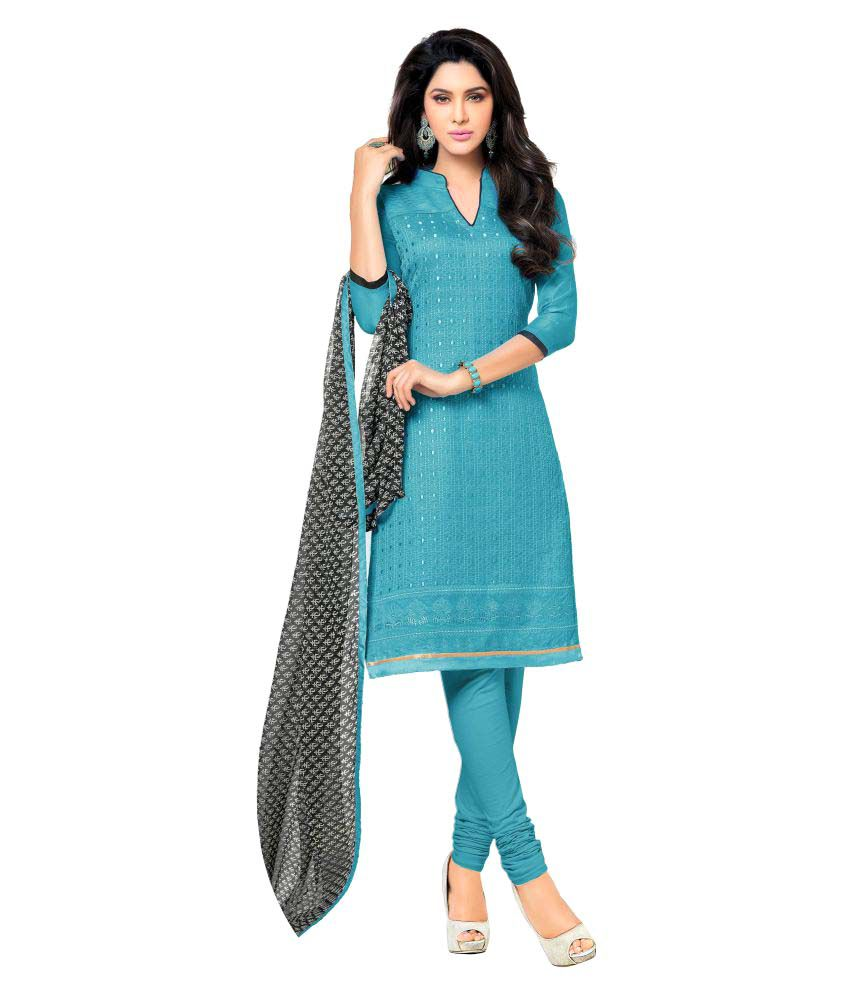 Designer Salwar Suits Sky Blue Chanderi Dress Material