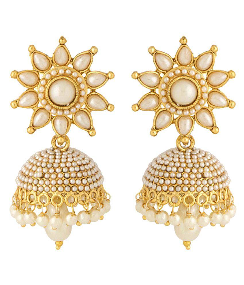 Voylla Pearls With Golden Tone Jhumki Earrings