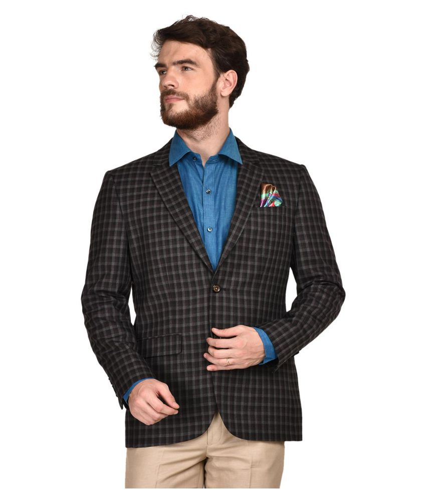La Mode Black Checks Formal Blazers