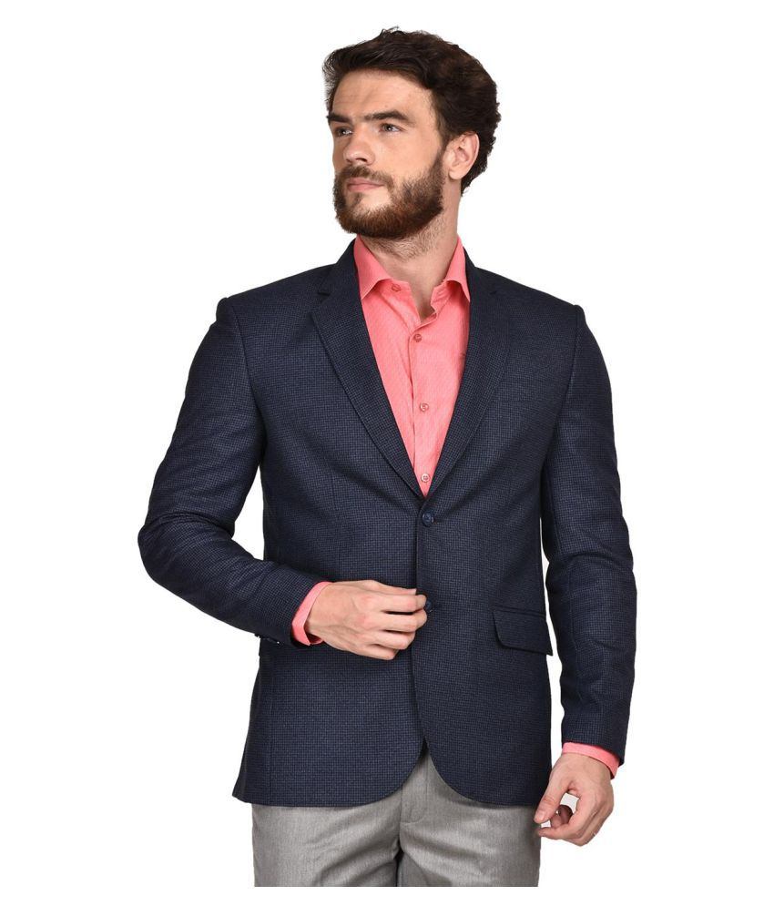 La Mode Blue Solid Formal Blazers